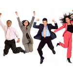 business people jumping for joy