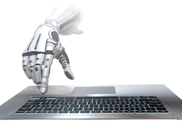 Robot Hand on laptop 600x400