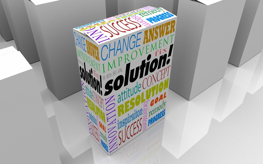 Many boxes on a store shelf, one with the word Solution to illustrate your best choice for solving your problem or overcoming a unique challenge
