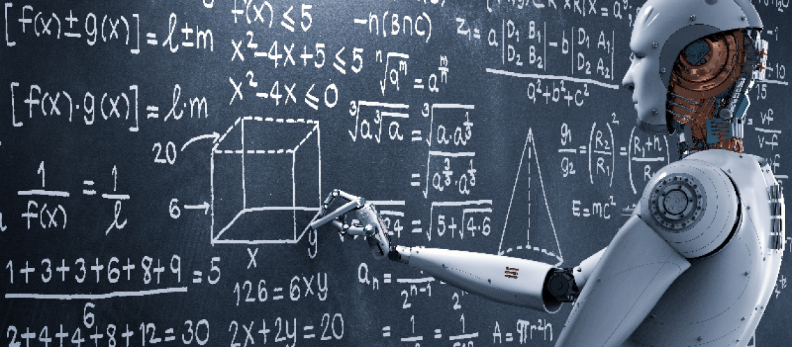 Robot at blackboard showing Artificial intelligence