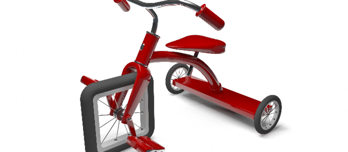 tricycle with square wheel indicating fundamental flaw